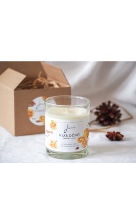 Jemnô Vánoce, zdravá sójová svíčka s vůní hřebíčku, pomeranče a skořice 140 g