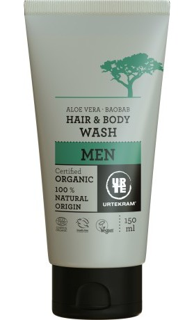 Urtekram Sprchový gel a šampon pro muže s aloe a baobabem BIO