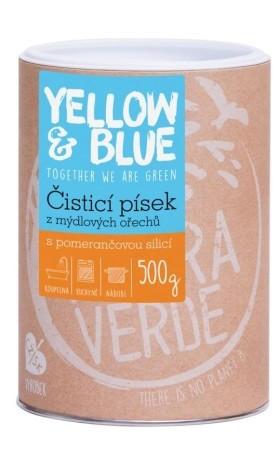 Yellow&Blue Čisticí písek z mýdlových ořechů s vůní pomeranče, dóza