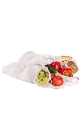 Casa Organica  Nákupní sada z biobavlny (4 typy sáčků a taška) 6 ks