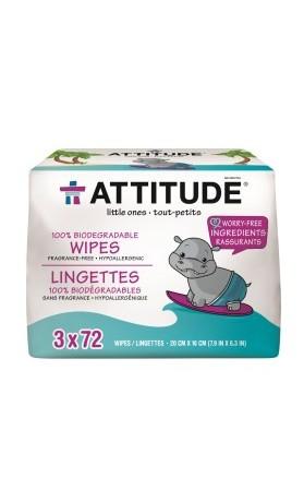 Attitude 100% Biologicky odbouratelné vlhčené ubrousky bez vůně - výhodné balení
