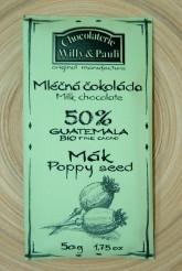 BIO Mléčná čokoláda Guatemala s mákem 50%
