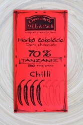 Chocolaterie Willy a Pauli BIO Hořká čokoláda Tanzanie 70% s chilli