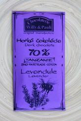 Chocolaterie Willy a Pauli BIO Hořká čokoláda Tanzanie 70% s levandulí