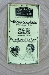 Chocolaterie Willy a Pauli BIO Mléčná čokoláda 54% s Perníkovým kořením Tanzanie