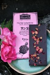 Chocolaterie Willy & Pauli BIO Hořká čokoláda Tanzanie 70% s květy růží