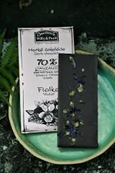 Chocolaterie Willy & Pauli BIO Hořká čokoláda Tanzanie 70% s květy fialky