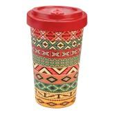 Woodway Bambusový kelímek na kávu ORANGE RED L
