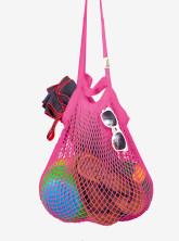 Česká síťovka Síťová taška přes rameno - bavlněný koš - růžová