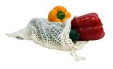 Casa Organica Sada síťových sáčků na potraviny z biobavlny – malé 3 ks (30 × 20 cm)