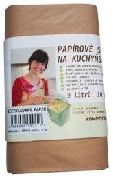 HBABio Kompostovatelné pytlíky na kuchyňský odpad z recyklovaného papíru - 9 l