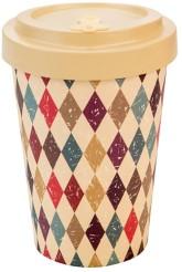 Woodway Bambusový kelímek na kávu Retro diamonds beige M