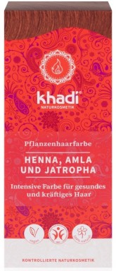 Khadi rostlinná barva na vlasy HENNA & AMLA & JATROPHA (jantarově červená)