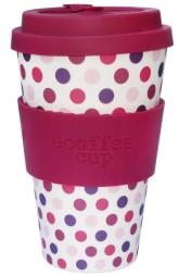 Ecoffee Cup Bambusový kelímek na pití Pink Polka