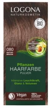 Logona BIO Rostlinná barva na vlasy prášková barva 080 Přírodní hnědá 2 x 50 g