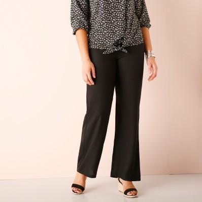Jednobarevné krepové kalhoty