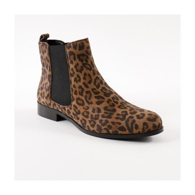Kožené nízke čižmy, leopardí vzor