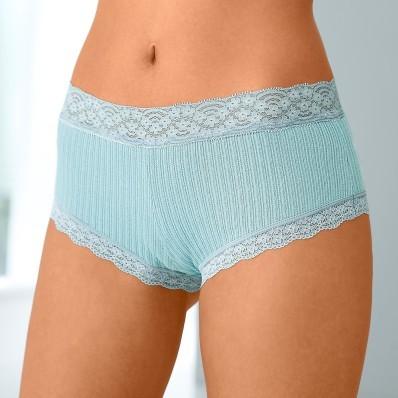 Nohavičky shorty z bavlny a čipky, súprava 3 ks