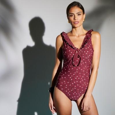 Jednodielne plavky s potlačou Cali, bez kostíc