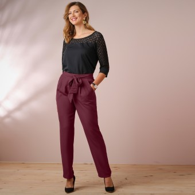 Jednobarevné kalhoty s páskem na zavázání