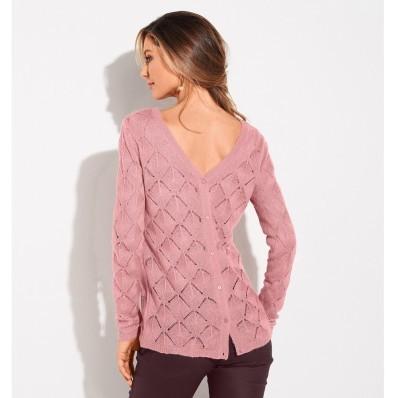 Ažurový pulovr s výstřihem vzadu