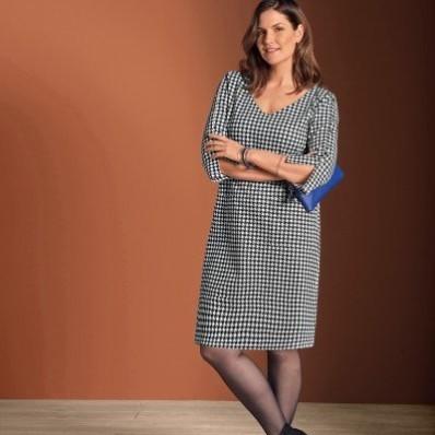 Šaty s potlačou kohútej stopy, Milano úplet