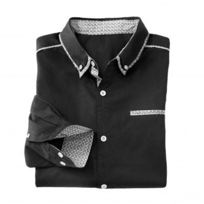 Jednofarebná košeľa s dlhými rukávmi a kontrastnými detailmi