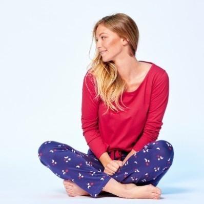 Pyžamové jednofarebné tričko s dlhými rukávmi