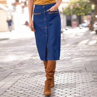 Džínsová sukňa na zapínanie