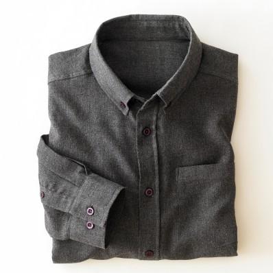 Flanelová jednofarebná košeľa s dlhými rukávmi