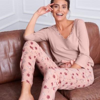 Pyžamové kalhoty s květinovým vzorem
