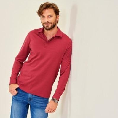 Jednobarevné polo tričko s dlouhými rukávy