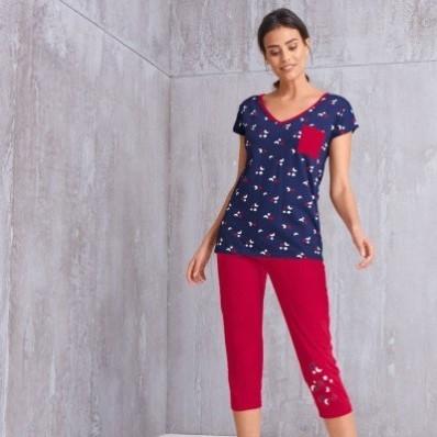 Pyžamové tričko s potlačou a krátkymi rukávmi