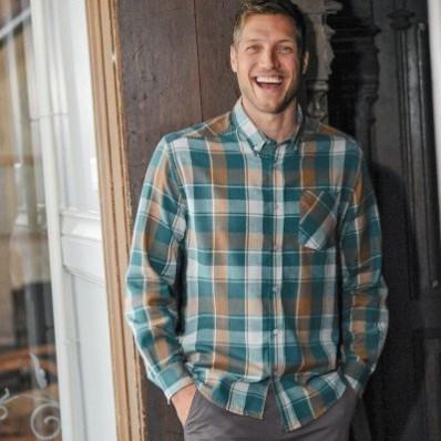 Flanelová kockovaná košeľa s dlhými rukávmi