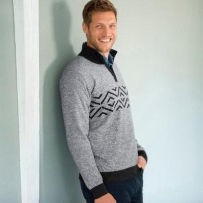 Žakárový pulovr se stojáčkem na zip