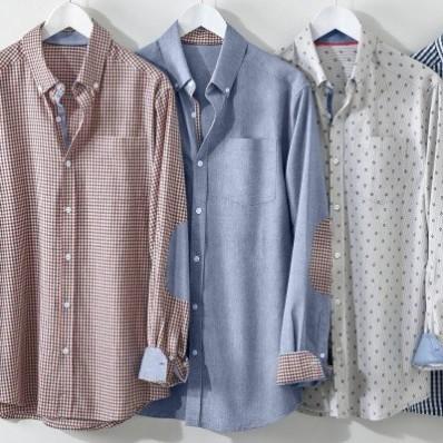 Košeľa s vichy vzorom a kontrastnými lakte