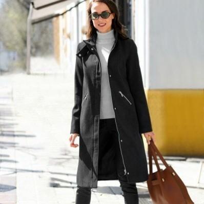 Dlouhý kabát na zip
