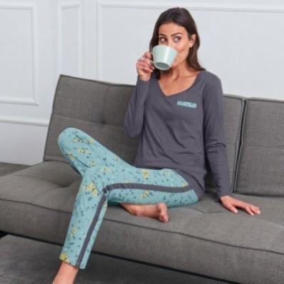 Vzdušné pyžamo, s potlačou a jednofarebné