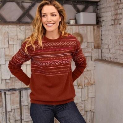 Žakárový pulovr z jehněčí vlny