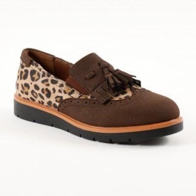 Poltopánky slippers so strapcami, leopardia/gaštanová