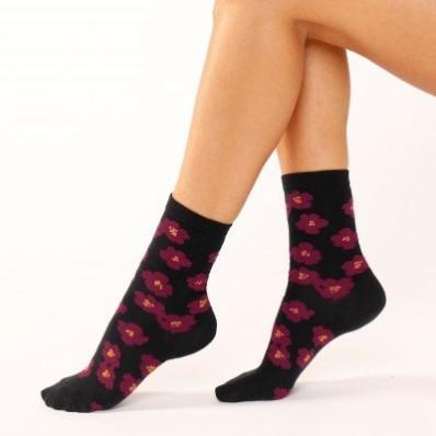 Ponožky s květinami a lurexem, sada 4 párů