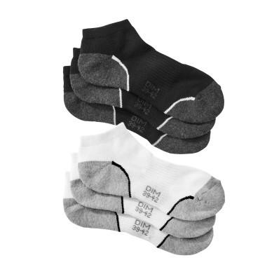 Členkové ponožky sneaker zn. Dim, súprava 3 bielych + 3 čiernych párov