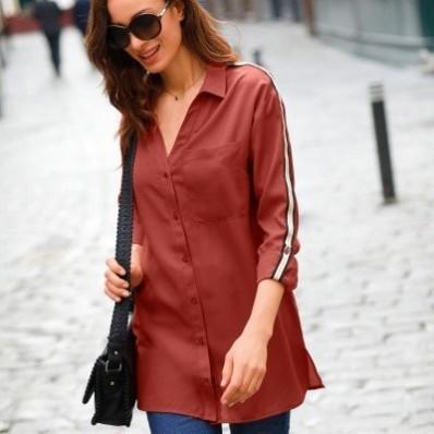 Dlhá jednofarebná košeľa s lampasmi