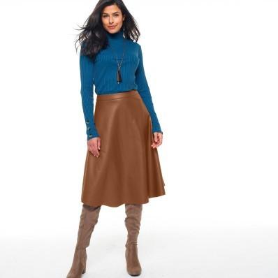 Midi sukňa, vzhľad kože (1)