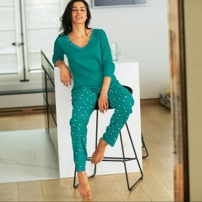 Pyžamové kalhoty s potiskem puntíků