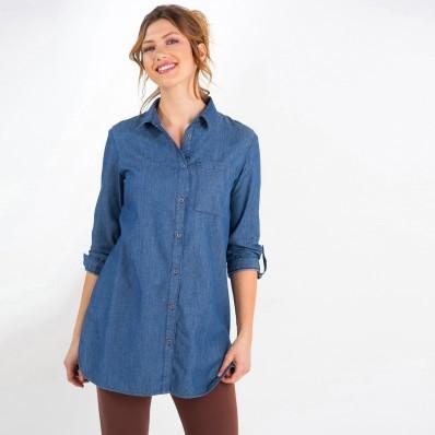 Dlhá džínsová košeľa s výšivkou