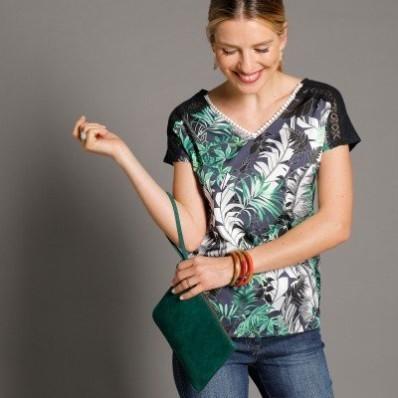 Tričko s potlačou, z 2 materiálov