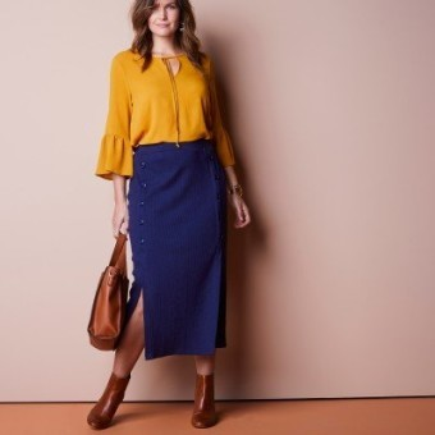 Polodlhá sukňa s gombíkmi