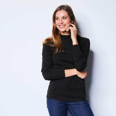 Tričko so stojačikom a dlhými rukávmi, čierne