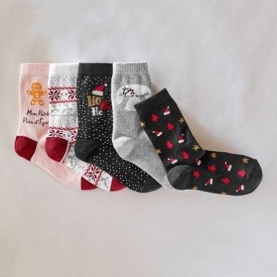 Ponožky s vianočnými motívmi, 5 párov